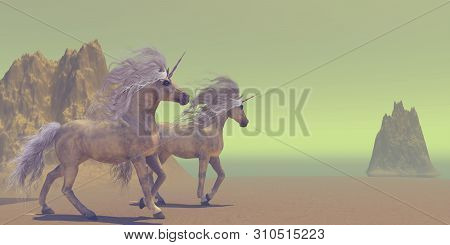 Two Unicorns 3d Illustration - The Unicorn Is A Divine White Horse That Is Legendary For Having A Si