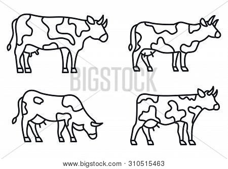 Farm Cow Icons Set. Outline Set Of Farm Cow Vector Icons For Web Design Isolated On White Background