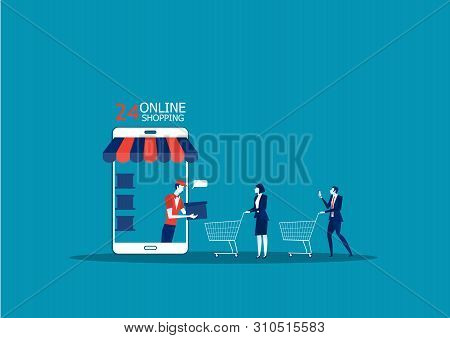 Online Shopping And Delivery Concept. Online Shop App. Ecommerce Sales, Online Shopping, Illustratio