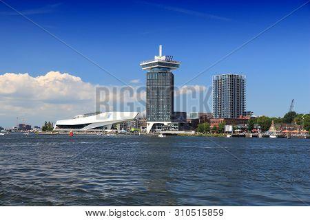 Amsterdam, Netherlands - July 9, 2017: Skyline Of Modern Part Of Amsterdam, Capital City Of The Neth