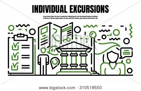Individual Excursion Banner. Outline Illustration Of Individual Excursion Vector Banner For Web Desi