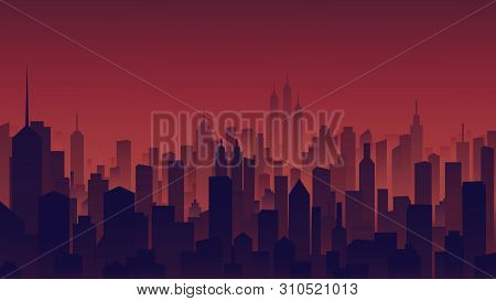 Landscape View, Tall Buildings In The City At Twilight Time