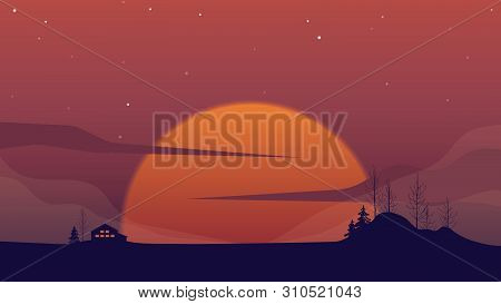 Landscape Scene, Small House On The Hill With Big Sun Behind At Twilight Time