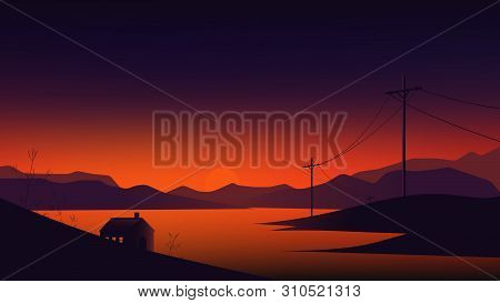 Small House Between Lake And Mountains Landscape, Twilight Time