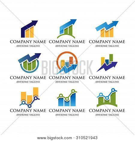 Abstract Business Financial Market Logo.growth Up Arrow Finance Bar Chart Or Stock Exchange Marketin