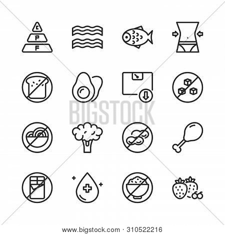 Ketogenic Diet In Outline Icon Set.vector Illustration.