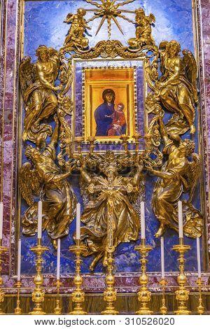 Rome, Italy - March 21, 2019 Salus Populi Romani Or Protectress Roman People Icon Basilica Santa Mar