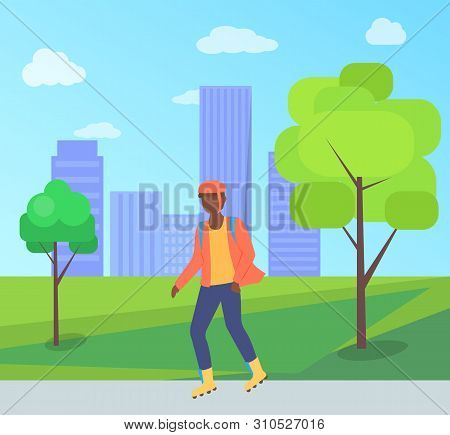 Man Wearing Helmet, Person Character Going On Rollerblades In City Park With Bench And Trees. Boy Ro