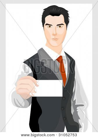 Vector illustration of a business man holding a blank business card on white background.
