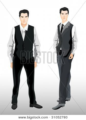 Vector illustration of stylish business man with tie and tuxedo, additional pose is included.