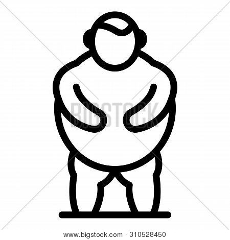 Man Obesity Icon. Outline Man Obesity Vector Icon For Web Design Isolated On White Background