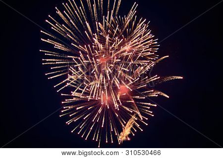 Cheap Beautiful Bright Fireworks, Red-yellow, In The Night Sky For Any Purpose
