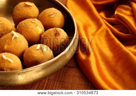 Traditional Indian Round Ball Shaped Sweet Made From Gram Flour
