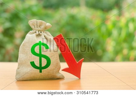 Money Bag With Dollar Symbol And Red Arrow Down. Reduced Profits And Liquidity Of Investments. Reduc