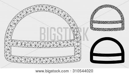 Mesh Hardhat Model With Triangle Mosaic Icon. Wire Carcass Polygonal Mesh Of Hardhat. Vector Collage
