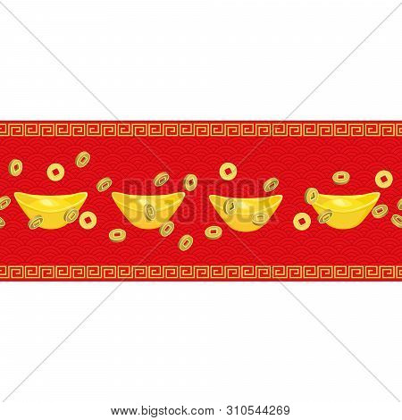Seamless Horizontal Pattern Chinese Golden Ingot, Coins  On Red Background. Chinese Gold Ingot, Coin