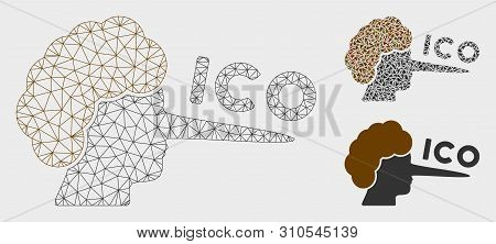 Mesh Ico Lier Model With Triangle Mosaic Icon. Wire Carcass Triangular Mesh Of Ico Lier. Vector Comp