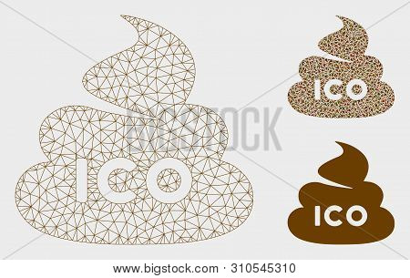 Mesh Ico Shit Model With Triangle Mosaic Icon. Wire Frame Triangular Mesh Of Ico Shit. Vector Collag