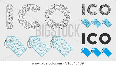 Mesh Ico Tokens Model With Triangle Mosaic Icon. Wire Frame Triangular Mesh Of Ico Tokens. Vector Mo