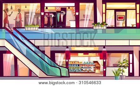 Mall With Shops And Cafes Illustration. Escalator Staircase With Grocery Store Supermarket, Menswear