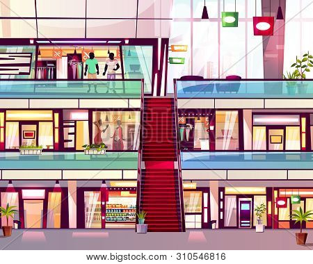 Mall Shops With Escalator Staircase Illustration. Modern Multistory Floor Trade Center With Menswear