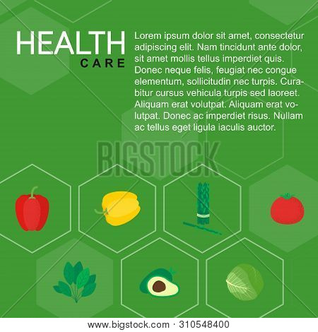 Healthy Isolated Food Icon Vegetables. Green Veg Dish Poster In Flat Style. Meal Concept Vector Illu