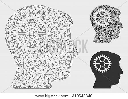 Mesh Intellect Cog Model With Triangle Mosaic Icon. Wire Frame Polygonal Mesh Of Intellect Cog. Vect