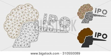 Mesh Ipo Lier Model With Triangle Mosaic Icon. Wire Carcass Polygonal Mesh Of Ipo Lier. Vector Colla
