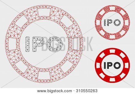 Mesh Ipo Token Model With Triangle Mosaic Icon. Wire Carcass Polygonal Mesh Of Ipo Token. Vector Com