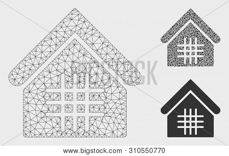 Mesh Jail Model With Triangle Mosaic Icon. Wire Frame Polygonal Mesh Of Jail. Vector Composition Of