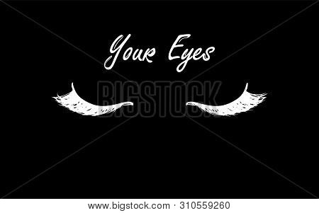 Eyelashes And Eyebrows Icon. Hand Drawing. Flat Simple Style Trend Modern Lashes Extension Logotype