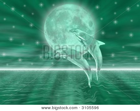 Dolphins in the night jumping on the moon poster