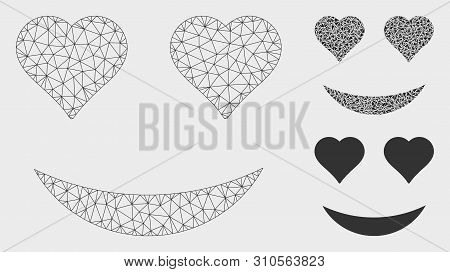 Mesh Love Smiley Model With Triangle Mosaic Icon. Wire Frame Polygonal Mesh Of Love Smiley. Vector M
