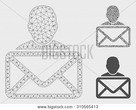 Mesh Mail Recipient Model With Triangle Mosaic Icon. Wire Frame Triangular Mesh Of Mail Recipient. V