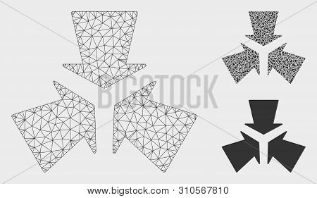 Mesh Shrink Arrows Model With Triangle Mosaic Icon. Wire Carcass Triangular Mesh Of Shrink Arrows. V