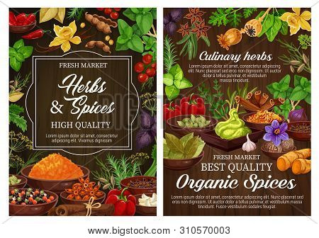 Spices And Culinary Herbs, Vegetarian Seasoning And Natural Condiments. Rosemary, Mint And Basil, Va