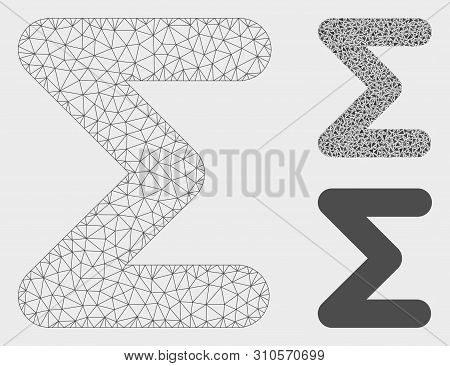 Mesh Sum Model With Triangle Mosaic Icon. Wire Carcass Triangular Mesh Of Sum. Vector Composition Of