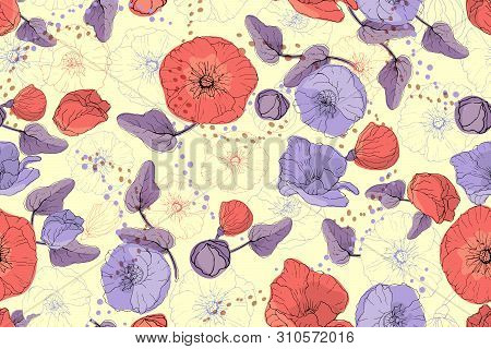 Art Floral Vector Seamless Pattern. Red And Purple Mallow And Poppy On A Pale Yellow Background. Iso