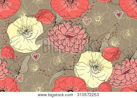 Art Floral Vector Seamless Pattern. Pink, Pale Yellow, Coral Color Mallow And Poppy On Brown Backgro