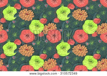 Art Floral Vector Seamless Pattern. Pink, Beige, Neon Green Mallow And Poppy On Deep Green Backgroun