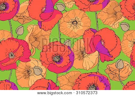Art Floral Vector Seamless Pattern. Orange, Red Poppies, Purple Shadows And Light Orange Mallows Wit