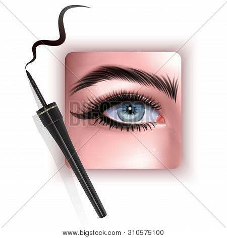 Realistic Illustration Of Eye Applying Eyeliner Close Up, Woman Applies Eyeliner, Vector Eps 10 Illu