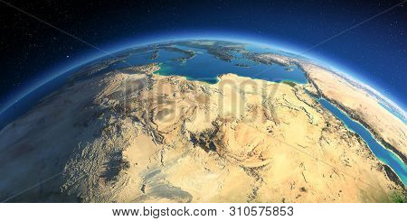 Highly Detailed Planet Earth. Exaggerated Precise Relief Lit Morning Sun. North Africa. Libya And Th