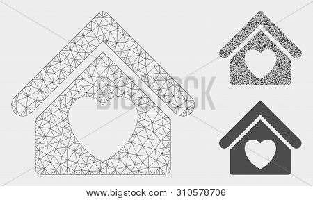 Mesh Hospice Model With Triangle Mosaic Icon. Wire Frame Triangular Mesh Of Hospice. Vector Mosaic O