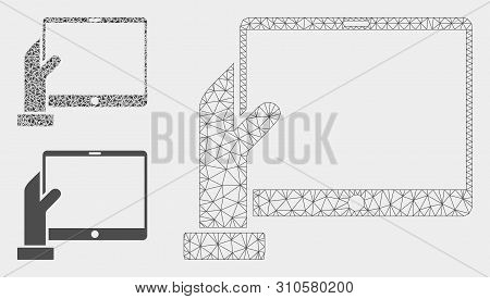 Mesh Hand Holds Pda Model With Triangle Mosaic Icon. Wire Frame Triangular Mesh Of Hand Holds Pda. V