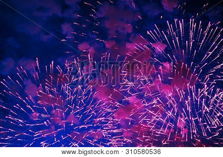 Inexpensive Fireworks, Over The City, White, Red And Blue . For Any Purpose.