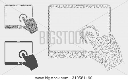 Mesh Hand Touch Pda Model With Triangle Mosaic Icon. Wire Frame Triangular Mesh Of Hand Touch Pda. V