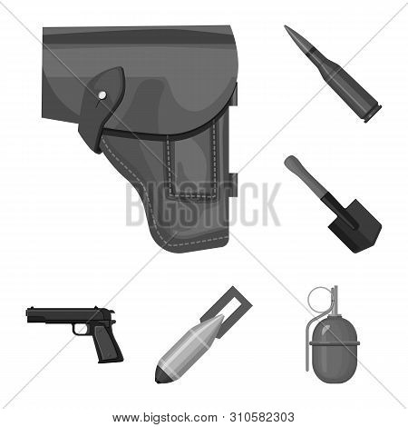 Army And Armament Monochrome Icons In Set Collection For Design. Weapons And Equipment Bitmap Symbol