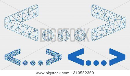 Mesh Inline Code Model With Triangle Mosaic Icon. Wire Carcass Polygonal Mesh Of Inline Code. Vector