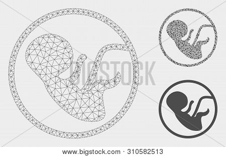 Mesh Human Embryo Model With Triangle Mosaic Icon. Wire Carcass Polygonal Mesh Of Human Embryo. Vect